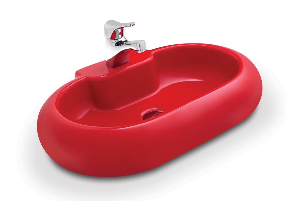 Güral Kırmızı Oval Mobilya Üstü Lavabo